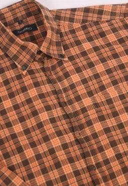 70s USA Rare Gilberto Plaid Check Flannel Baggy Shirt