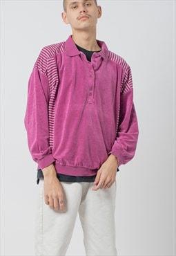 Vintage 80s Half Button Up Velvet Sweatshirt in Purple