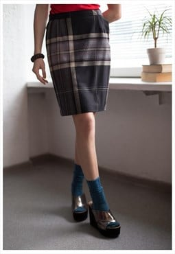 Vintage 80's High Waist Plaid Mini Skirt