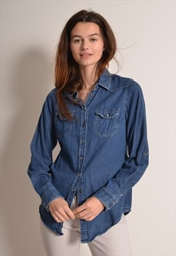 Vintage 90s Denim Shirt in Blue