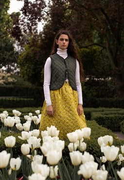 Daffodil Yellow (Floral) - Quilted - Cousin Ben Skirt