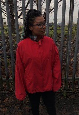 Vintage Ralph Luaren red zip through harrington jacket