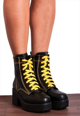 Black Chunky Platform Lace Ups Ankle Boots with Yellow