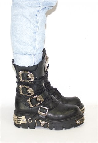 RETRO NEW ROCK GRUNGE PUNK LEATHER GOTH BOOTS
