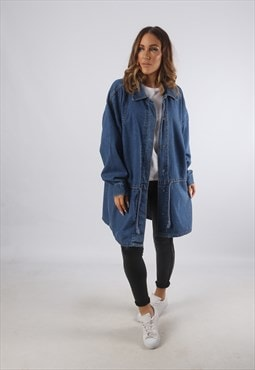 Vintage Denim Jacket Oversized Longline Long 20 - 22 (K93Z)