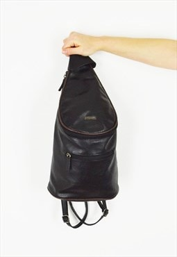 Black Faux Leather Rucksack