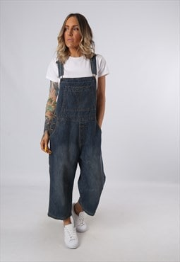 Denim Dungarees Vintage Wide Leg 3/4 Length UK 14 (G3DX)