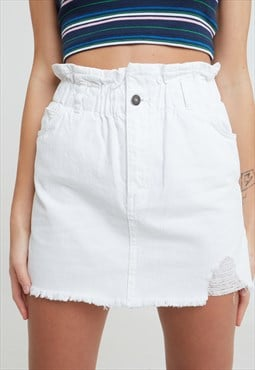 Raw hem paperbag skirt - white