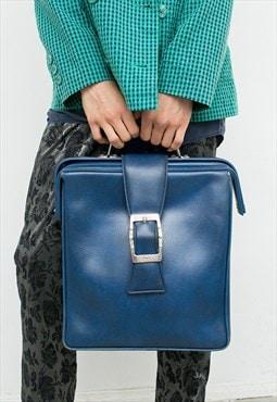 Vintage Briefcase Square Dark Blue Large Vegan Faux Leather
