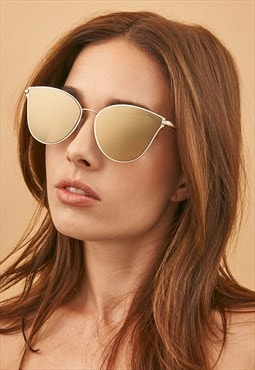 Ivy Gold Mirrored Metal Cat Eye Womens Fashion Sunglasses