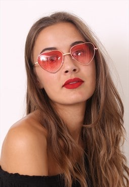 Pink Ombre Love Heart Sunglasses
