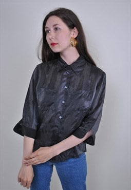 90s gray transparent rave blouse, Size S