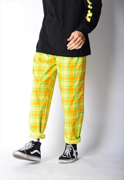 Vintage 80s Yellow Check Pants