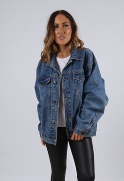 Vintage Denim Jacket Oversized Fitted UK 16 - 18 XL (J3M)