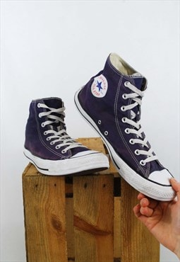 Retro High Top Converse Trainers Purple & White
