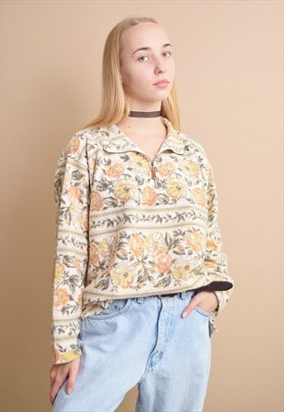 90'S RETRO FLORAL PATTERN OVERSIZED NEUTRAL JUMPER TOP
