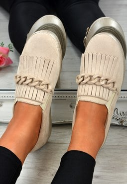 Ladies Slip On Trainers Chain Fringe Comfy Beige Shoes