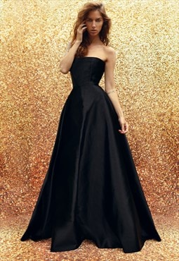 Long satin corset evening dress