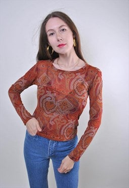 Vintage Asian India ethno print red boho blouse
