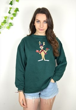 90's Vintage Green Rudolph Christmas Design Sweatshirt