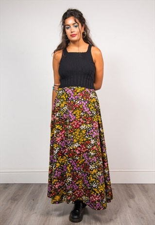 VINTAGE 70'S BLACK FLORAL BRIGHT PATTERN MAXI BOHO SKIRT