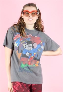 Vintage 90s Disney T-Shirt Y2K Grey Mickey Mouse Super Hero