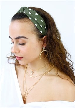 Khaki Polka Dot Top Knot Alice Head Band