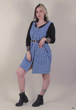 VINTAGE 90'S OVERSIZED DENIM PINAFORE DRESS /A11027
