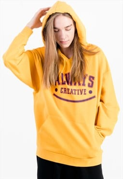 Printed Oversized Hoodie in Yellow with Pouch Pocket
