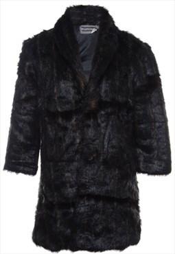 1980s Dark Brown Faux Fur Coat - M