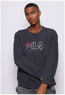 Vintage Fila Print Logo Big Sweatshirt Grey