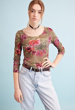 90'S RETRO FLORAL PRINT KITSCH SHEER MESH PARTY TOP