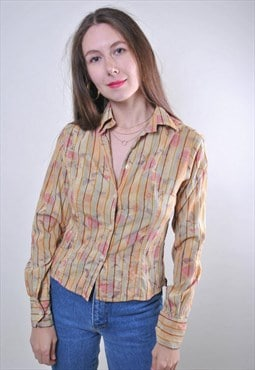 80s multicolor vintage woman holiday party blouse, Size S