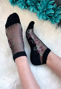 Black Sheer Top Floral Socks