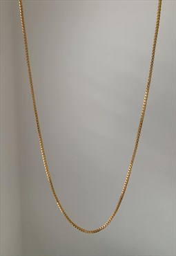 SCINTILLER. Gold Dainty Box Chain Necklace