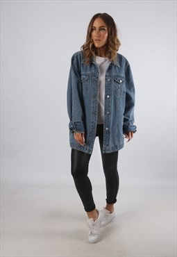 Vintage Denim Jacket Oversized Fitted UK 20 - 22 (K93X)