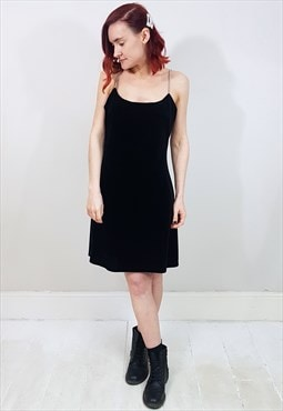 Vintage 90's Black Velvet Gem Strap Mini Dress