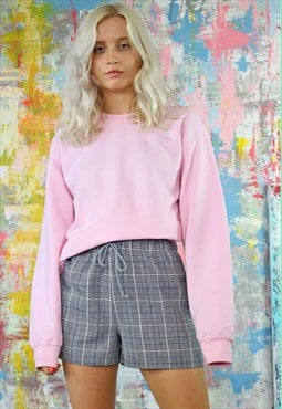 Grey Check Shorts & Baby Pink Sweat Co-Ordinates
