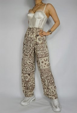 Funky Patterned Beige Brown Trousers High Waisted