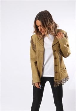Tassel Fringe Jacket Soft Leather Bohemian UK 12 (GEDX)