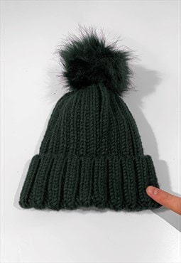 Faux Fur Bobble Knitted Ribbed Beanie Hat - Olive Green