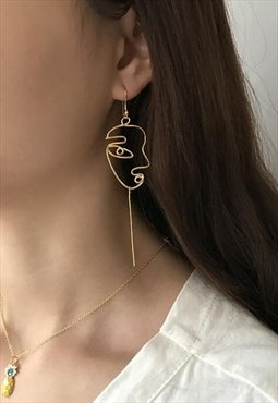 Gold Stylish Face Earrings