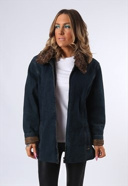 Denim Jacket Faux Fur Lined Long Oversized Fitted UK 14 A43Q