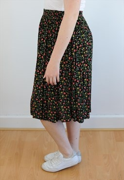 Womens Vintage 80s skirt high waisted floral midi skirt