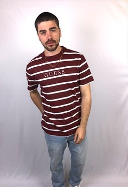 Vintage Guess Spellout T Shirt in Burgundy