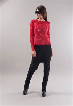 LACE Shirt/Blouse/Red Top/Extravagant/Stylish/F1781