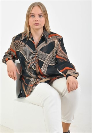 VINTAGE 80'S BLOUSE IN ABSTRACT PRINT