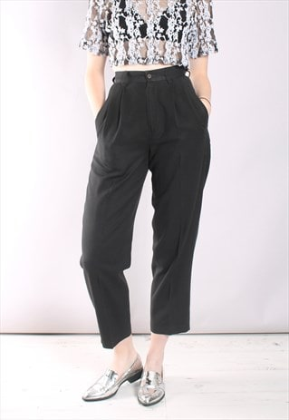 VINTAGE 80S BENETTON BLACK HIGH WAIST TAILORED TROUSERS