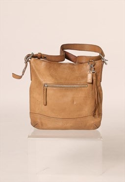 Vintage Leather Beige Coach Shoulder Bag