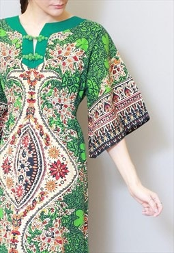 Vintage 1970's Green Tribal Print Woven Cotton Mini Dress